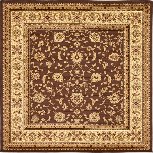 Brown 10' X 10' Classic Agra Square Rug