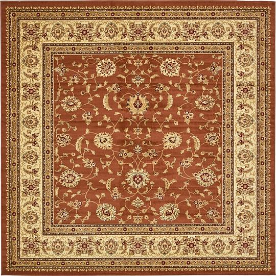 Brick Red 10' X 10' Classic Agra Square Rug