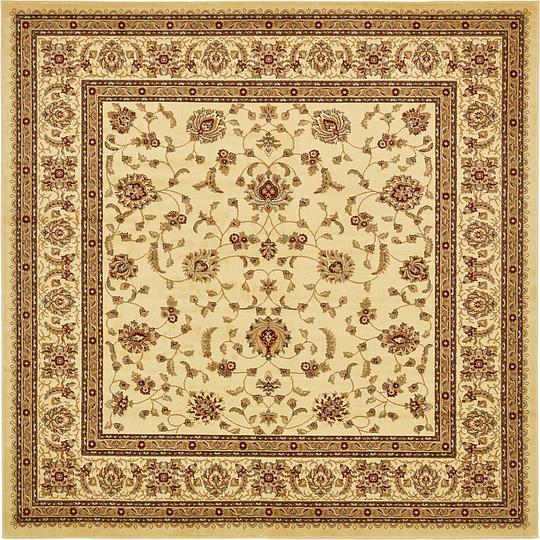 Cream 10' X 10' Classic Agra Square Rug