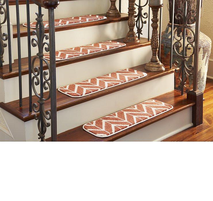 0' 9 x 2' 6 Chevron Stair Tread Rug
