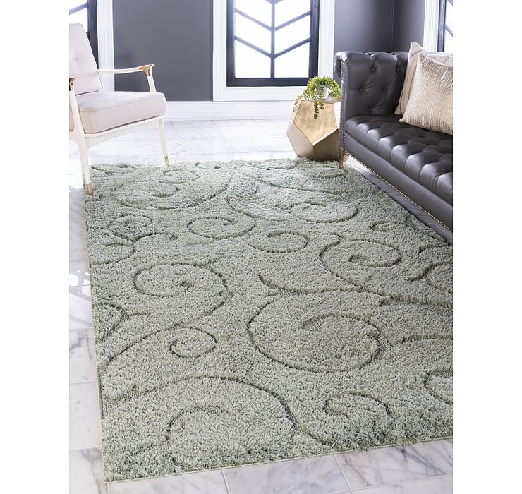 Green Botanical Shag Rug