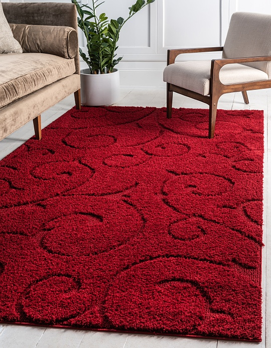 Red  4' x 6' Floral Shag