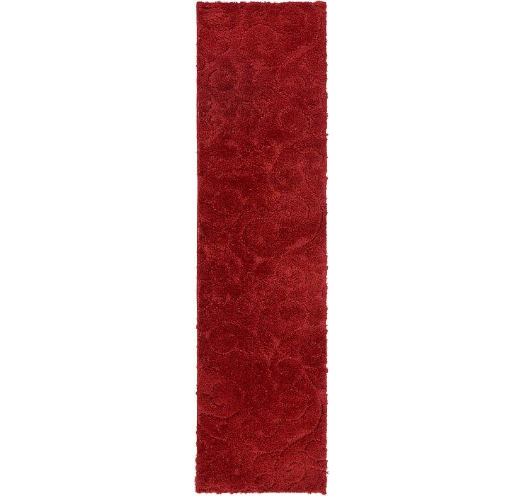 Red Botanical Shag Runner Rug