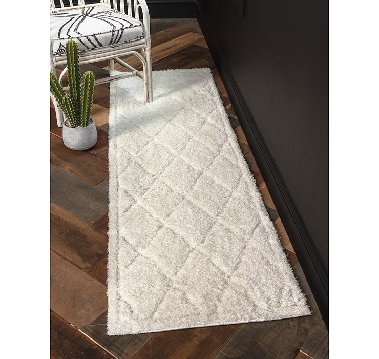 Ivory Lattice Shag Runner Rug