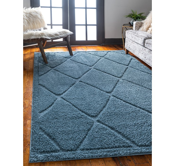Light Blue Lattice Shag Rug