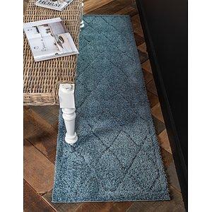 Unique Loom 2' 7 x 10' Trellis Shag Runner Rug