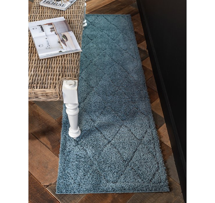 Light Blue Lattice Shag Runner Rug