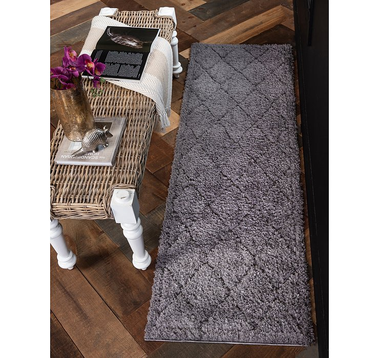 Dark Gray Lattice Shag Runner Rug