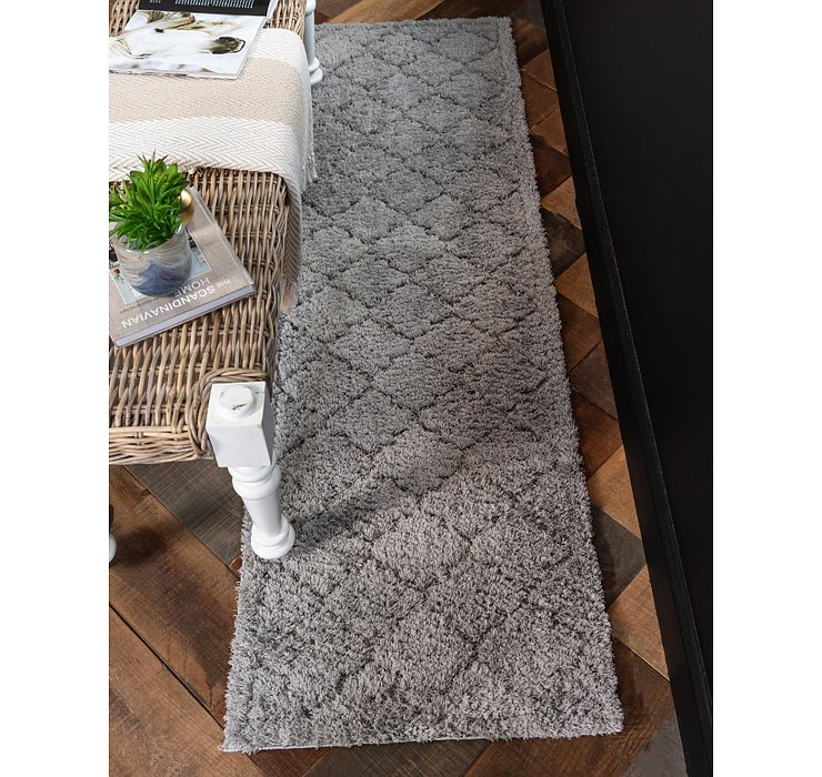 Gray Lattice Shag Runner Rug