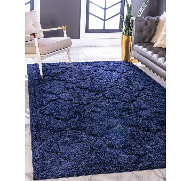 Navy Blue Lattice Shag Rug