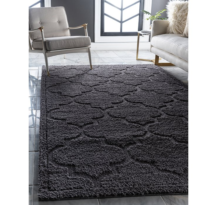 Dark Gray Lattice Shag Rug