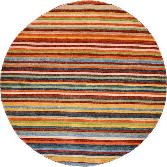 Shop Oriental Persian Gabbeh Shades Of Orange Hand Knotted: Multi 6' 3 X 6' 3 Indo Gabbeh Round Rug