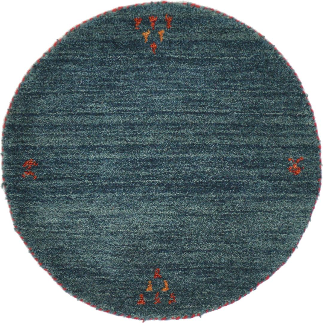 Shop Oriental Persian Gabbeh Shades Of Orange Hand Knotted: Teal 2' X 2' Indo Gabbeh Round Rug