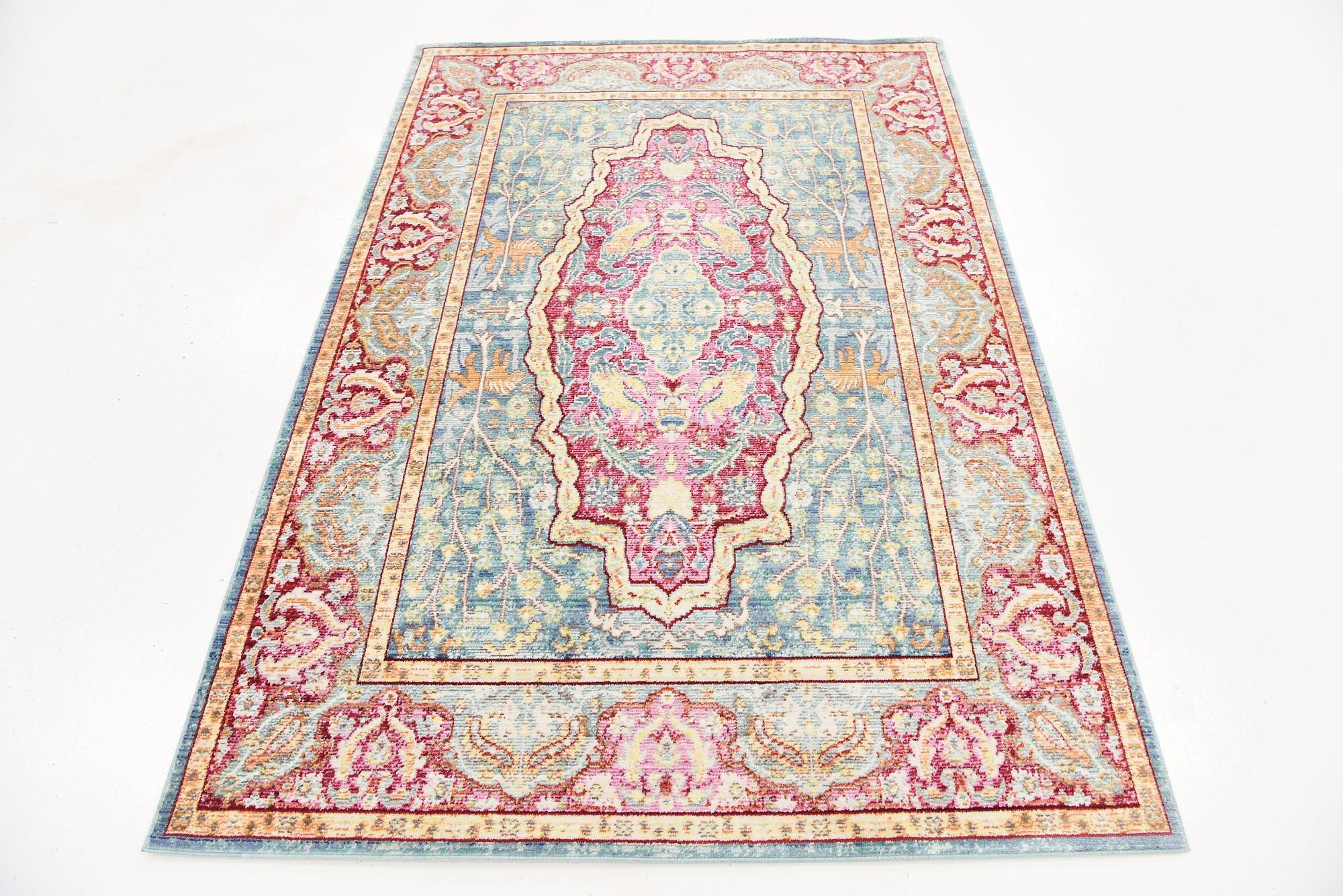 Area Rug Floral Medallion Carpet Over Dyed Carpets