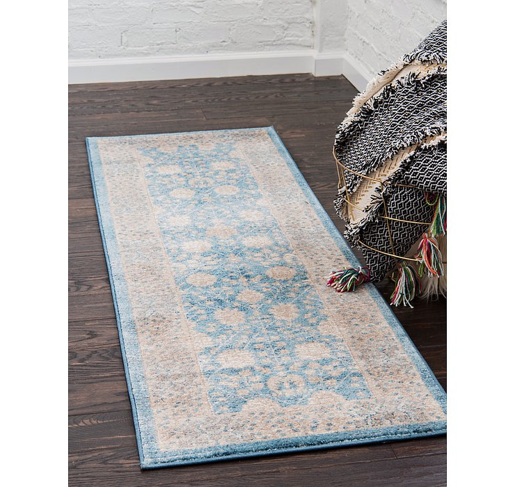 Light Blue Viola Runner Rug