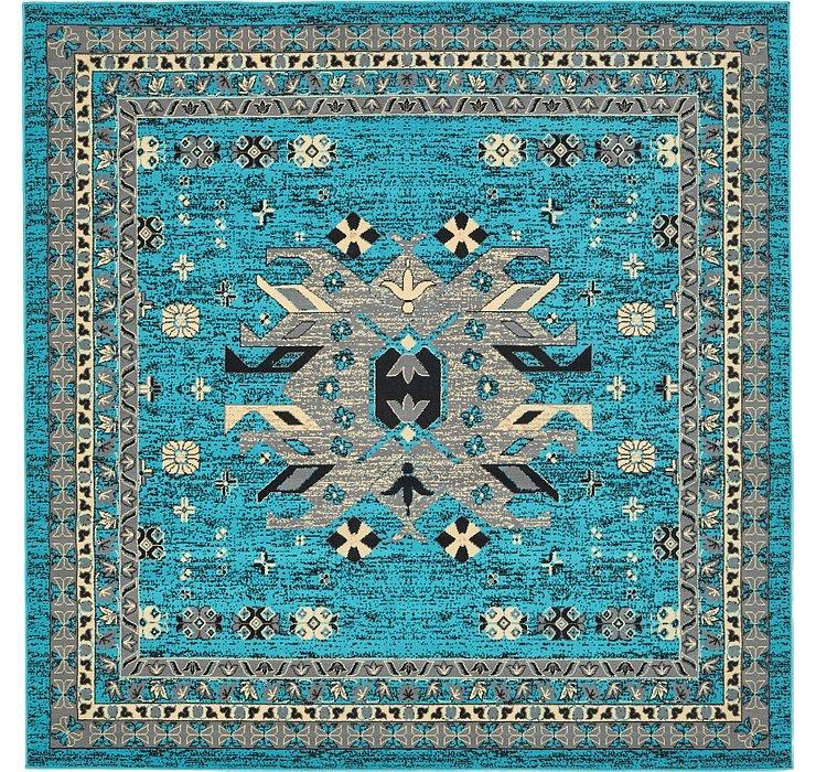 Turquoise Heris Square Rug