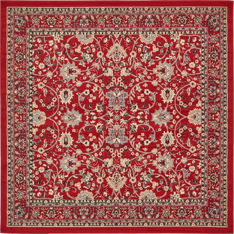 3ab8053f671 Red 8  x 8  Kashan Design Square Rug