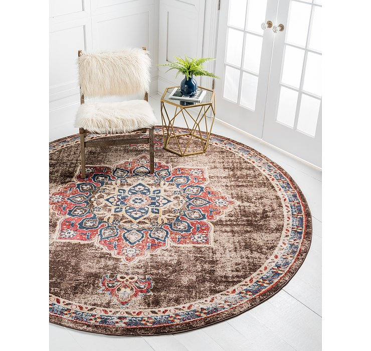 Chocolate Brown Eden Round Rug