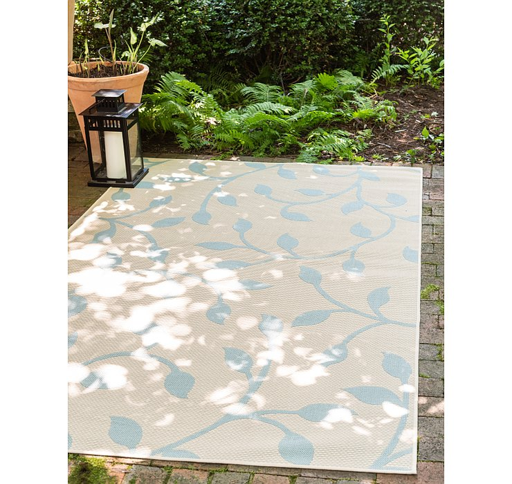 Beige Outdoor Botanical Rug