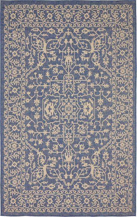 blue 5 39 x 8 39 outdoor botanical rug area rugs irugs uk. Black Bedroom Furniture Sets. Home Design Ideas