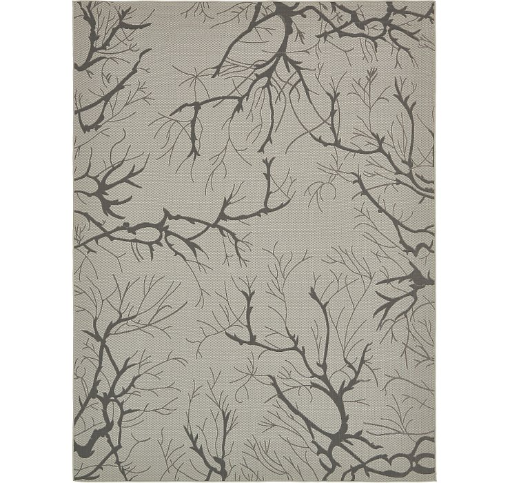 Light Gray Outdoor Botanical Rug
