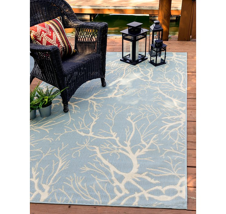 Light Blue Outdoor Botanical Rug