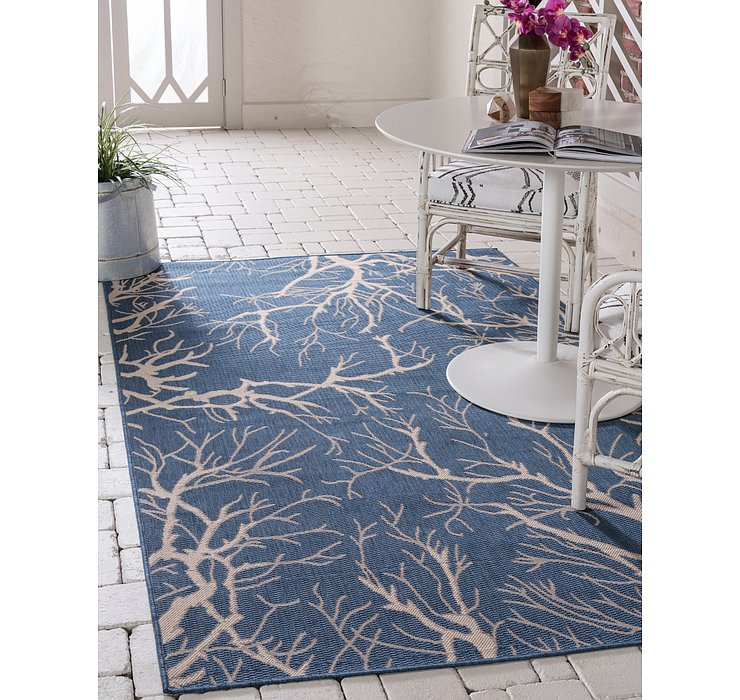 Blue Outdoor Botanical Rug
