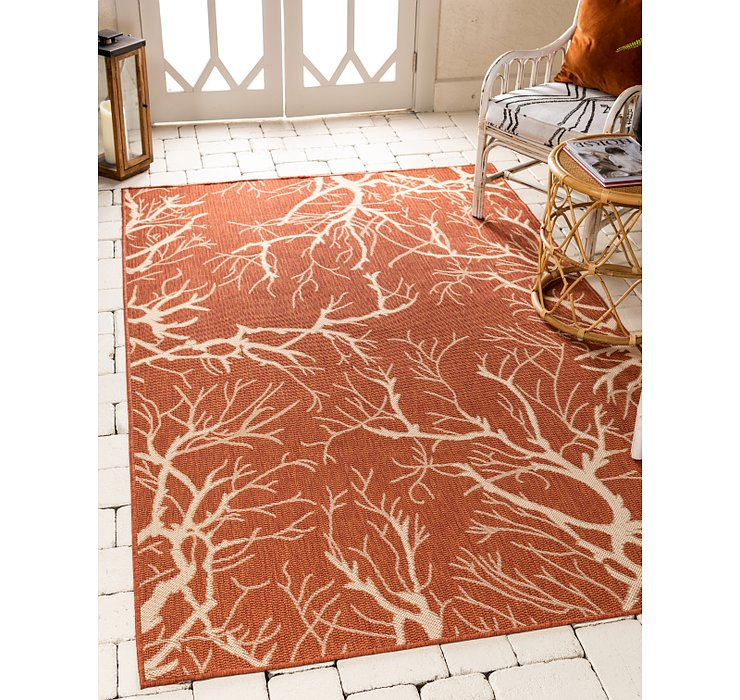 Terracotta Outdoor Botanical Rug