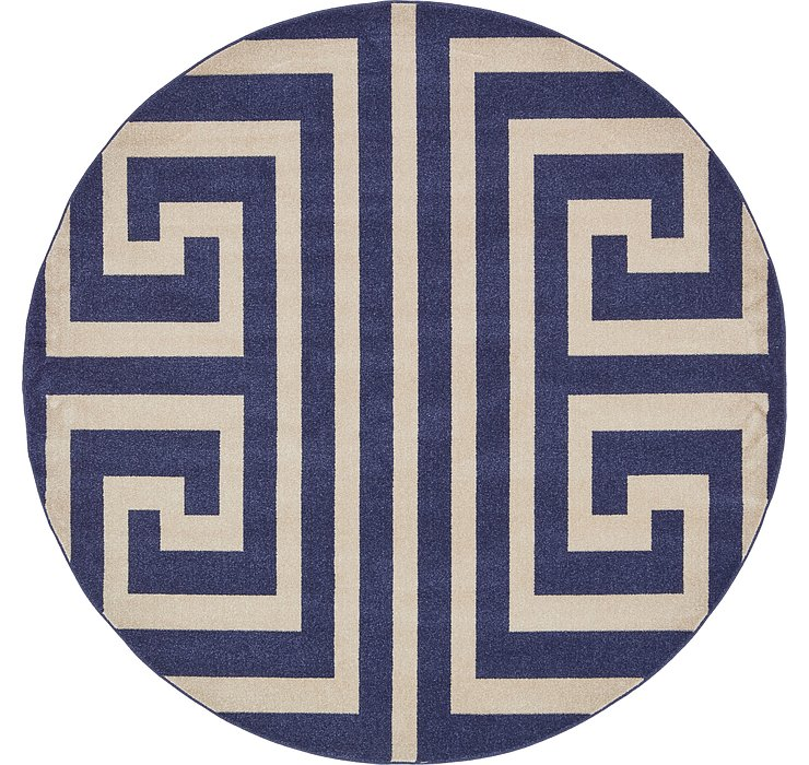 8' x 8' Greek Key Round Rug