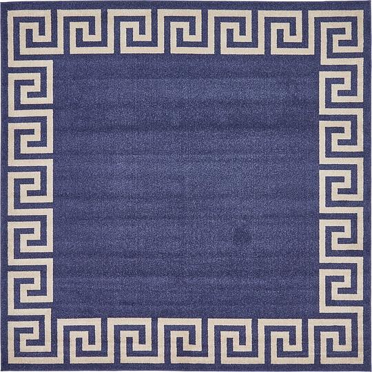 Navy Blue 8 X 8 Greek Key Square Rug Area Rugs Esalerugs