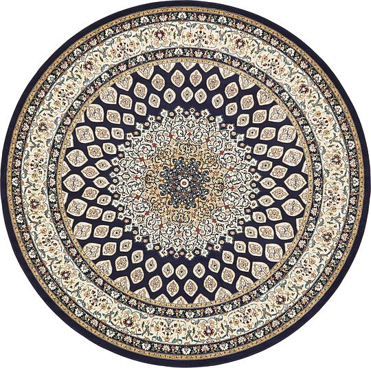 Navy Blue 10 X 10 Nain Design Round Rug Area Rugs