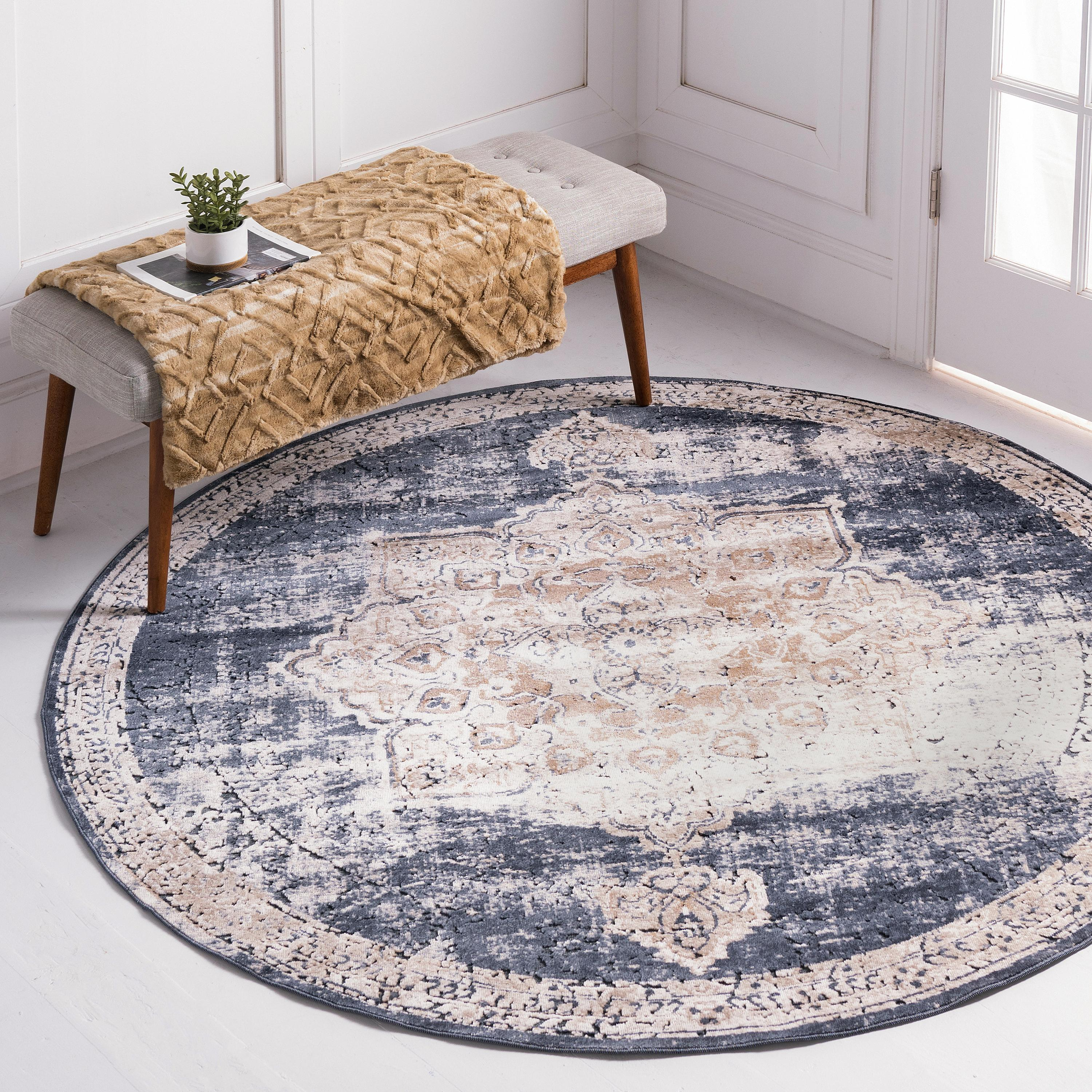 Dark Blue 8 X 8 Villa Round Rug Irugs Uk