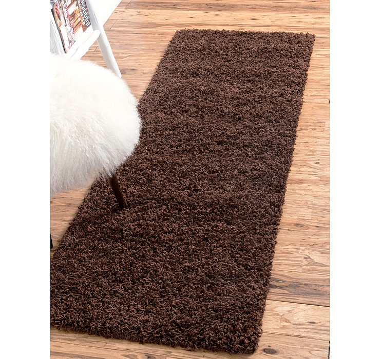Chocolate Brown Solid Shag Runner Rug
