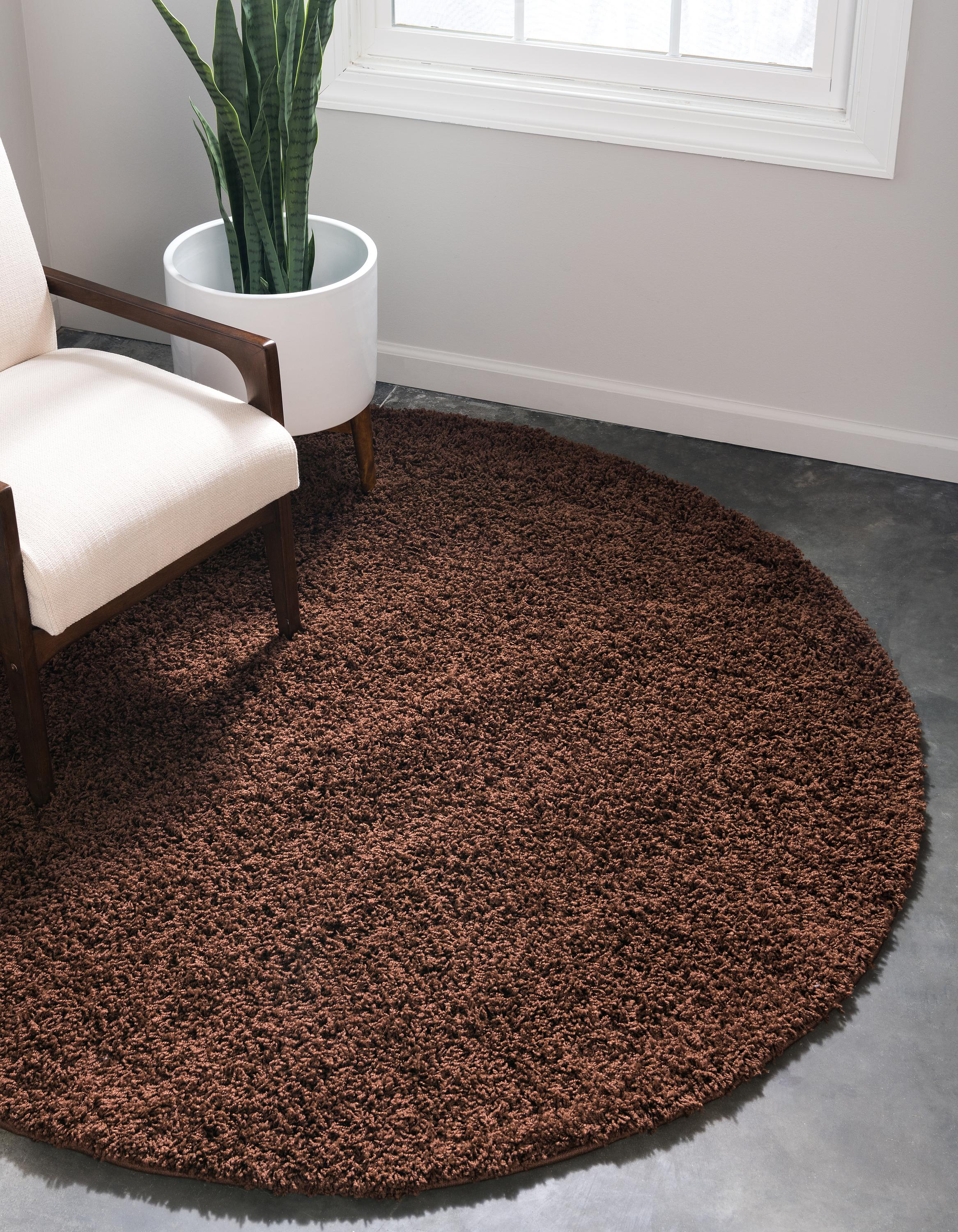 Chocolate Brown 6 X Solid Shag Round Rug Area Rugs