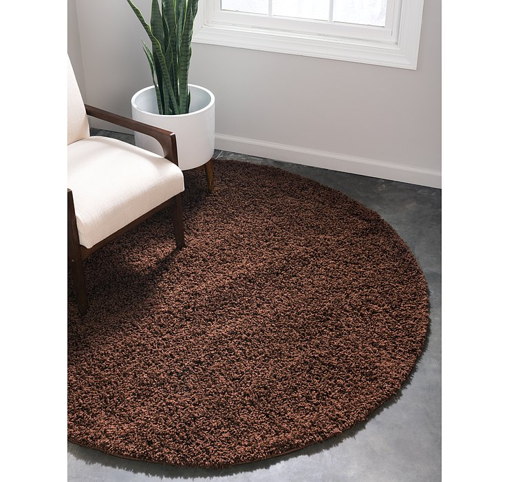 Chocolate Brown Solid Shag Round Rug