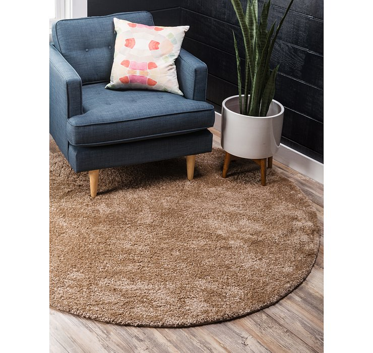 Light Brown Basic Frieze Round Rug