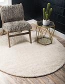 6' x 6' Solid Frieze Round Rug thumbnail