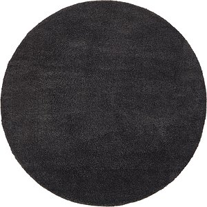 All Rounds Black Solid Frieze  Rugs