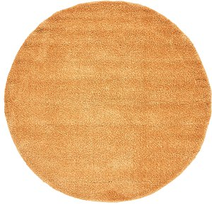 All Rounds Orange Solid Frieze  Rugs