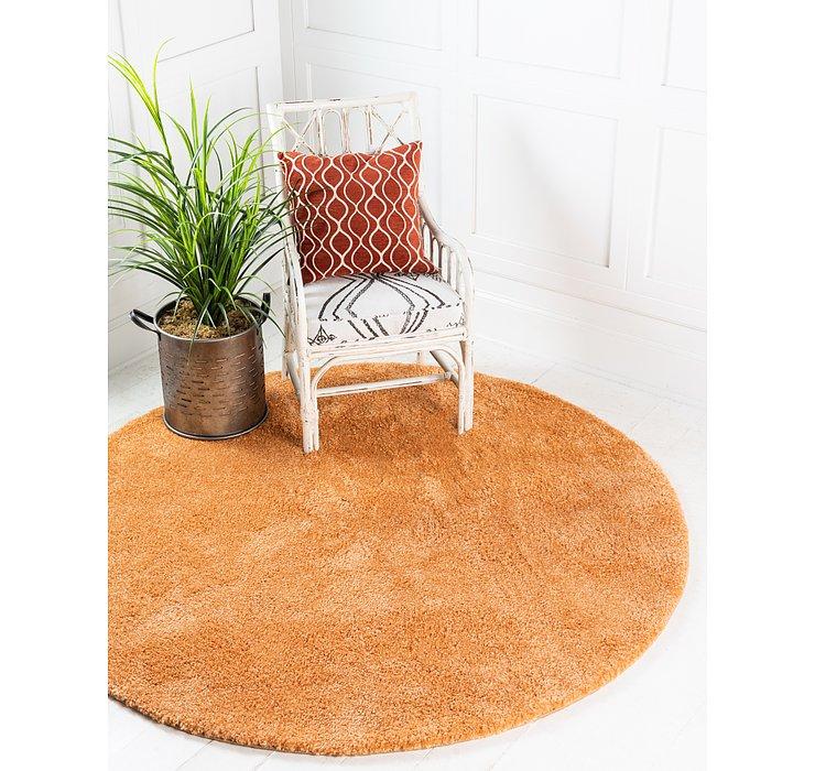 Orange Basic Frieze Round Rug