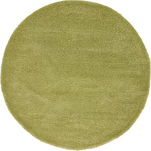 All Rounds Green Solid Frieze  Rugs!