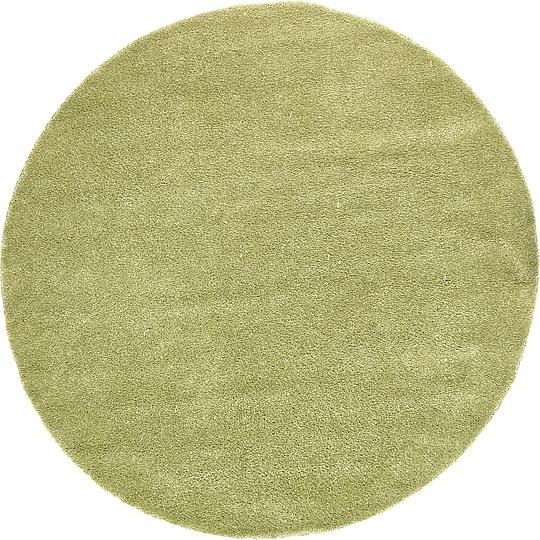 Light Green 8' X 8' Solid Frieze Round Rug