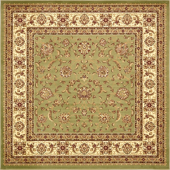 Green 8' X 8' Classic Agra Square Rug