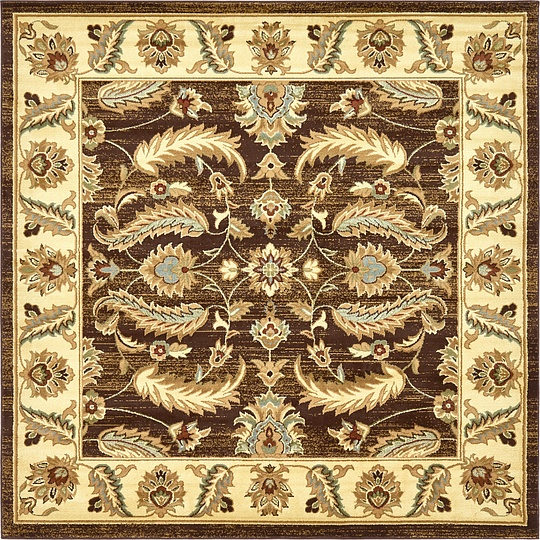 Brown 8' X 8' Classic Agra Square Rug