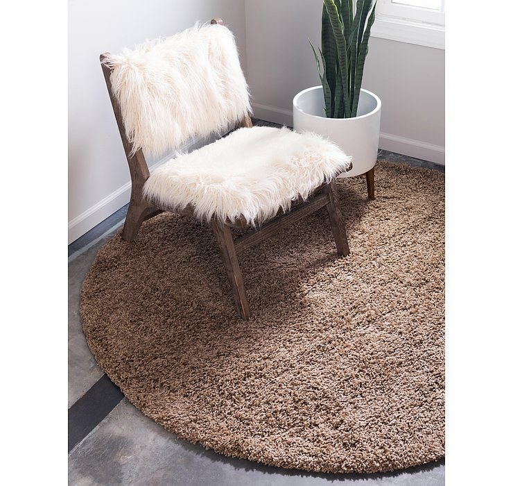 Sandy Brown Solid Shag Round Rug