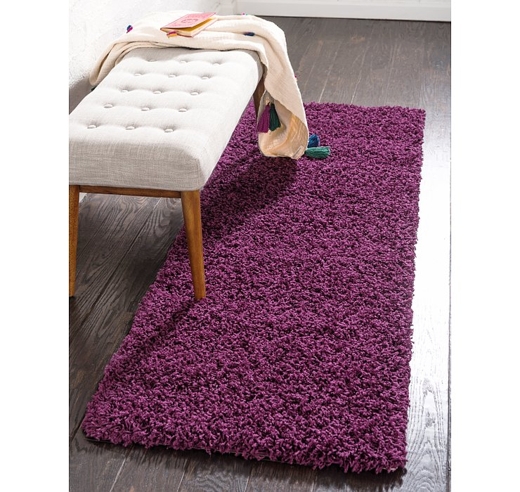 Eggplant Purple Solid Shag Runner Rug