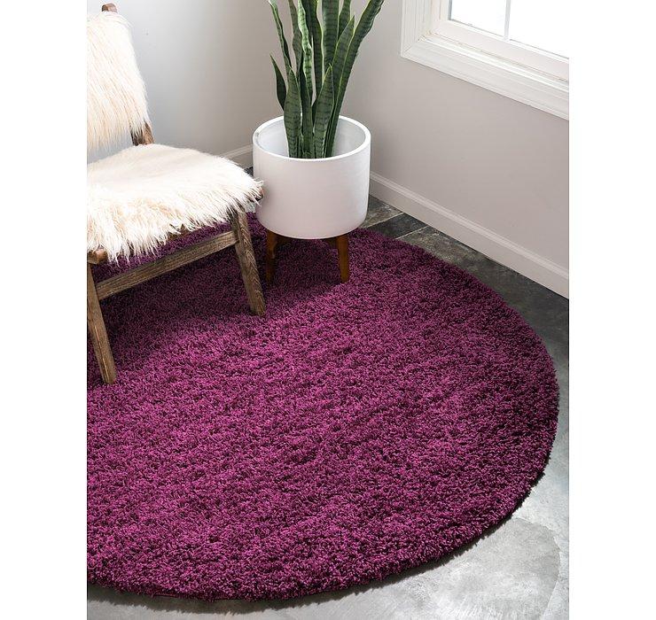 Eggplant Purple Solid Shag Round Rug