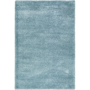 7×10 Blue Solid Frieze  Rugs