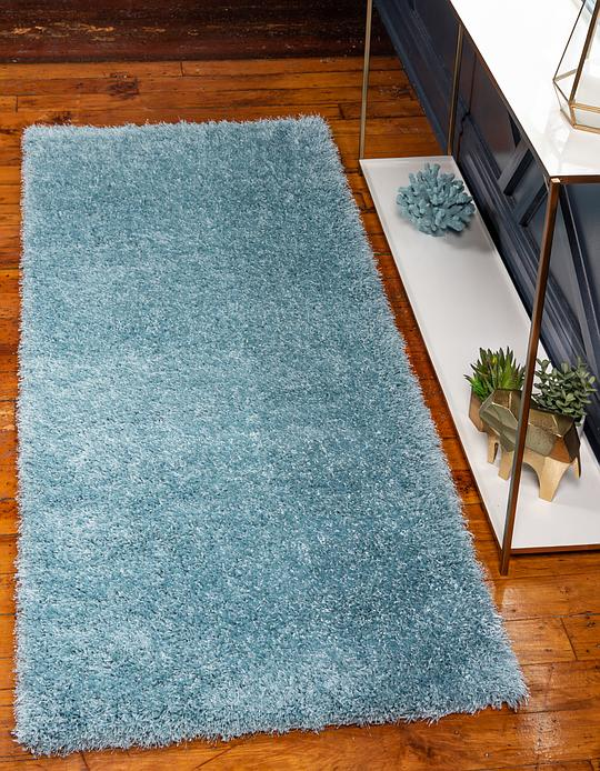 Light Blue 2 7 X 6 Luxe Solid Shag Runner Rug Area