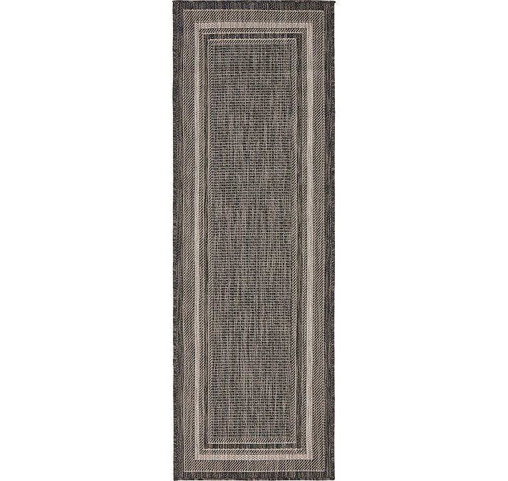 Black Outdoor Border Runner Rug